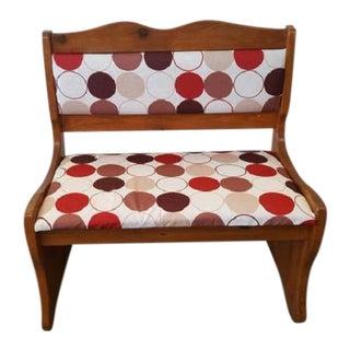 Mid-Century Modern Dot Pattern Upholstered Wooden Bench