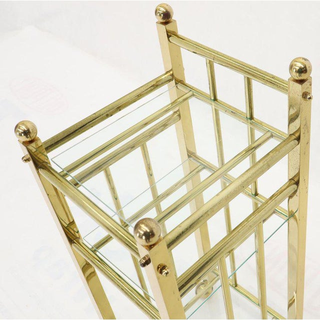 Mid-Century Modern Mid-Century Modern Brass and Glass Square Stand Table Cart Pedestal on Wheels For Sale - Image 3 of 13