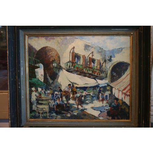 Lovely antique French oil painting. Signed by the artist, likely dates from the 1950s. A very charming mid-century piece...