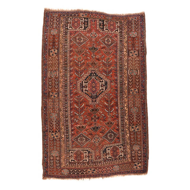 Antique Persian Shiraz Tribal Rug For Sale - Image 4 of 4