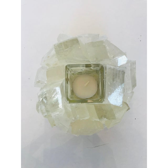 Mid-Century Modern Kathryn McCoy White Calcite Candle Holder For Sale - Image 3 of 5