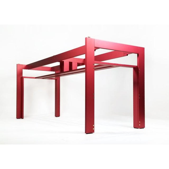 Cassina Carlo Scarpa Red Anodized Architectural 'Doge' Dining Table for Cassina Simon For Sale - Image 4 of 10