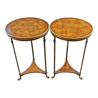 1980s Mid-Century Modern Theodore Alexander Walnut Side Tables - a Pair For Sale
