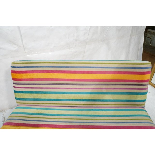 1970s Set of 2 Kho Liang Ie for Artifort Awning Striped Chenille Sofas For Sale - Image 5 of 8