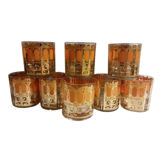Mid-Century Modern Culver Gold & Orange Enamel Low Ball Glasses - Set of 8 - Image 1 of 7