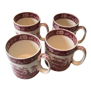 Spode Tower Pink Coffee Mugs - Set of 4