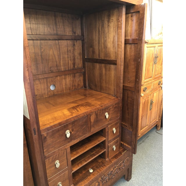 Gold Asian Style Walnut Bar or Media Armoire For Sale - Image 8 of 13