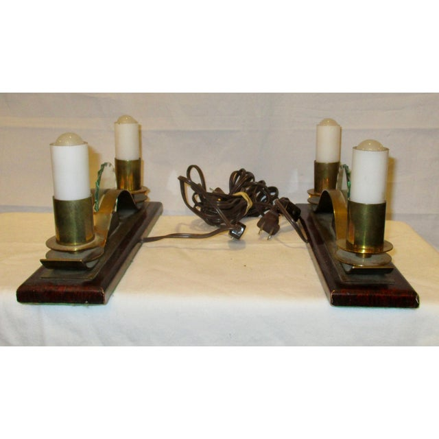 Metal French Art Deco Shelf Lamps - A Pair For Sale - Image 7 of 7