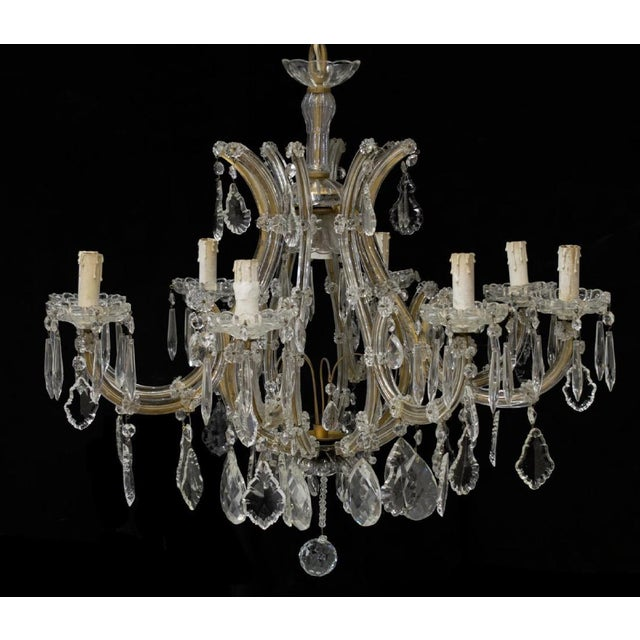 1940s Large Italian Maria Theresa Style Nine-Arm Crystal Chandelier Re-Wired For Sale In Denver - Image 6 of 6
