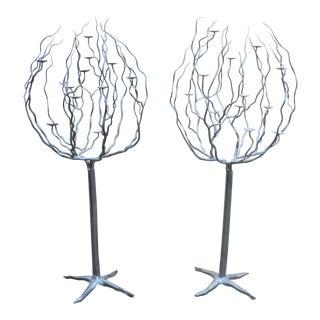 20th Century French Expressionist Hand Made Large Metal Candelabra's - a Pair For Sale