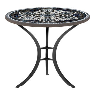 """Grigio 30"""" Bistro Table with Black Base For Sale"""