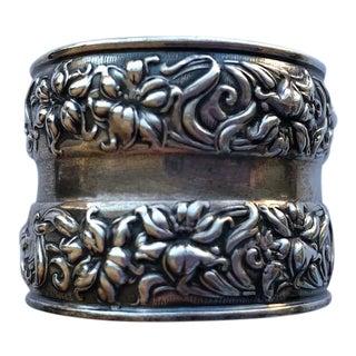 Antique Art Nouveau Sterling Silver Repousse Napkin Ring For Sale