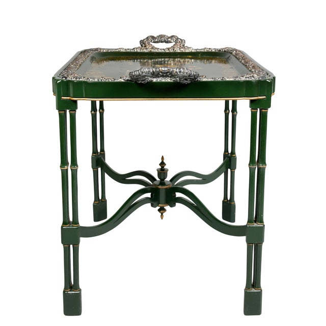 Victorian Papier Mâché and Silver Plate Tray Table For Sale - Image 9 of 11