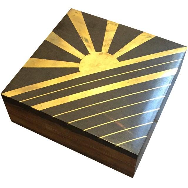 1970s Vintage Sun Brass Inlay Wood Box - Image 1 of 8