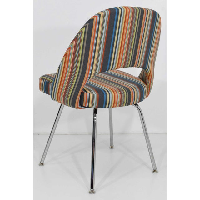 We have 15 chairs by Eero Saarinen for Knoll. Upholstered in Stripes by Paul Smith ($135/yard). We are selling individually.