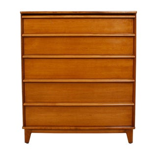 Mid-Century Modern Tall Dresser With Sculpted Pulls