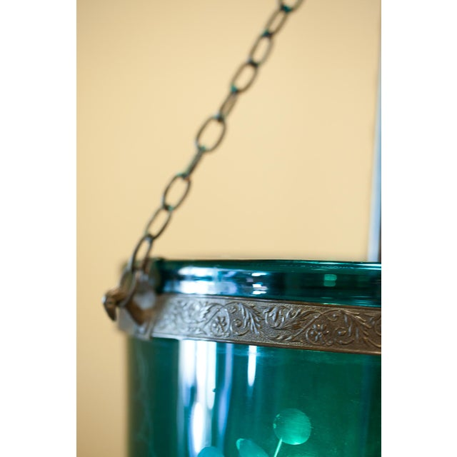 Foilate-Etched Ten-Inch Green Bell Jar Lantern, England Circa 1830 For Sale In Washington DC - Image 6 of 13
