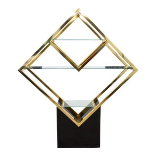 Mid 20th Century Mid-Century Brass and Glass Diamond Shaped Etagere For Sale