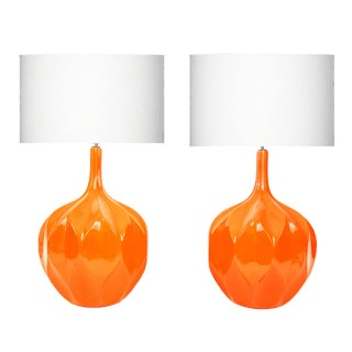 A Pair of Mid-Century Honeycomb Orange Lamps For Sale