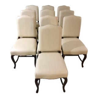 Palecek Leather Dining Chairs - Set of 10 For Sale
