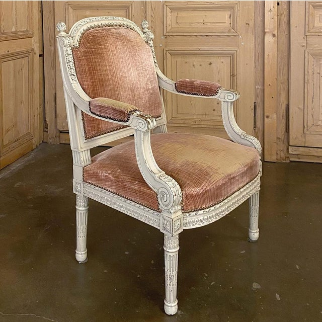 Wood Pair 19th Century French Louis XVI Painted Armchairs ~ Fauteuils For Sale - Image 7 of 13