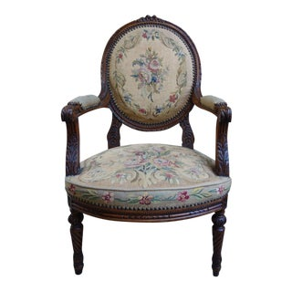 Antique French Carved Walnut Arm Chair Aubusson Tapestry Needlepoint Armchair For Sale