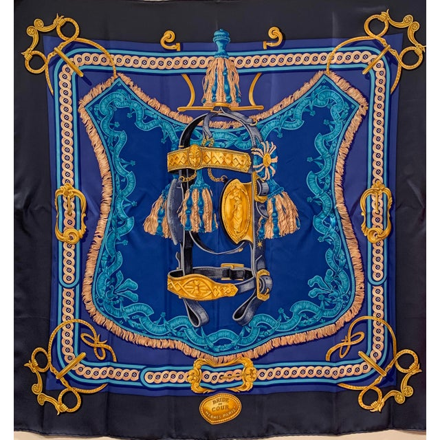 Silk Beautiful Hermes Equestrian Themed Brides De Cour Silk Scarf For Sale - Image 7 of 7