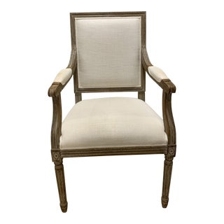 Modern Restoration Hardware Vintage French Square Back Fabric Armchair For Sale