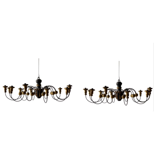 Mid-19th Century Parcel-Gilt Wood and Metal Chandeliers - A Pair For Sale - Image 9 of 9