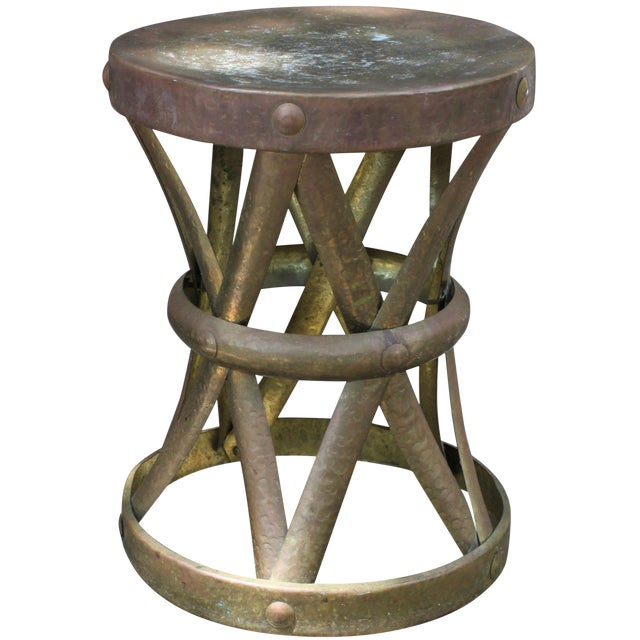 Mid-Century Hammered Brass Drum Table - Image 1 of 6