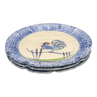 1960s Folk Art Blue Stipple With Rooster Soup Bowls - Set of 3