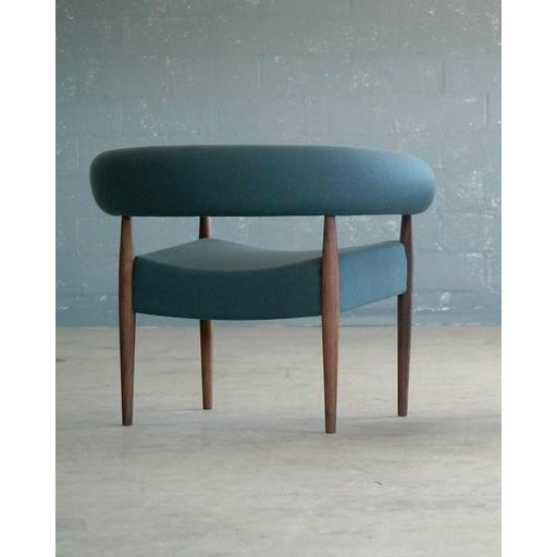 Fabric Nanna Ditzel for Getama Ring Chairs in Walnut and Wool - a Pair For Sale - Image 7 of 12