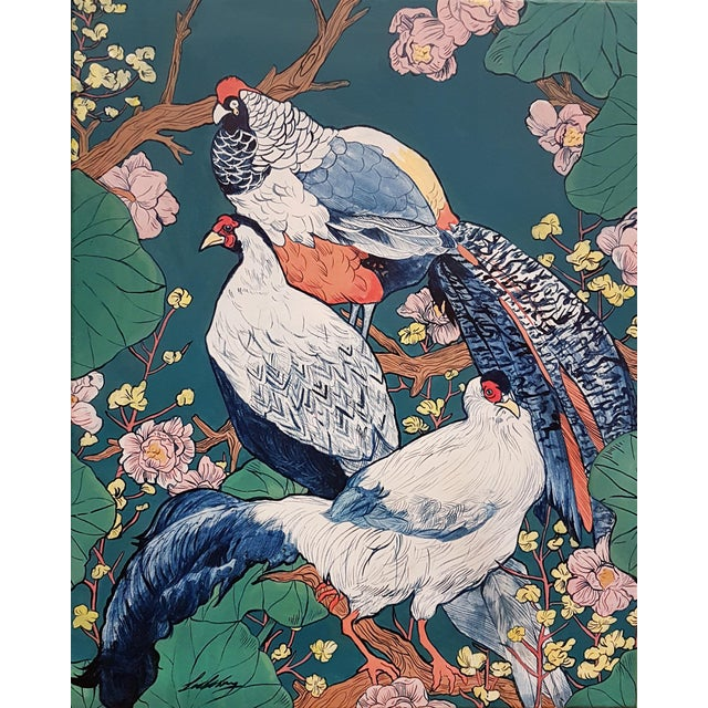 """Asian """"Remain Distinct"""" Stretched Canvas Painting For Sale"""