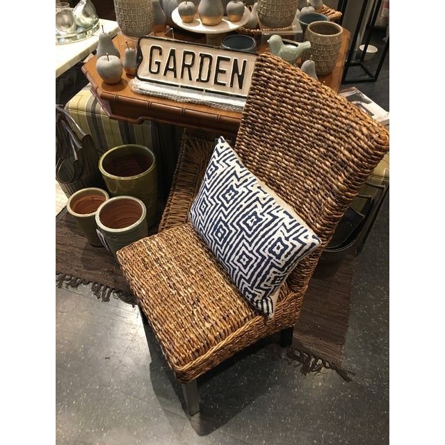 Fabric Woven Rattan Dining Chair For Sale - Image 7 of 8