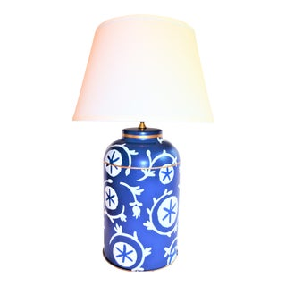 Dana Gibson Blue and White Tea Caddy Lamp For Sale