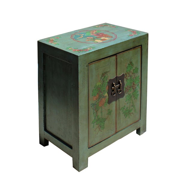 Chinese Distressed Grass Green Lacquer Graphic Side End Table Nightstand For Sale - Image 3 of 8