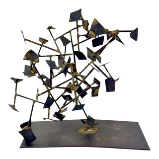 Welded Steel and Brass Sculpture by Harry Bertoia For Sale