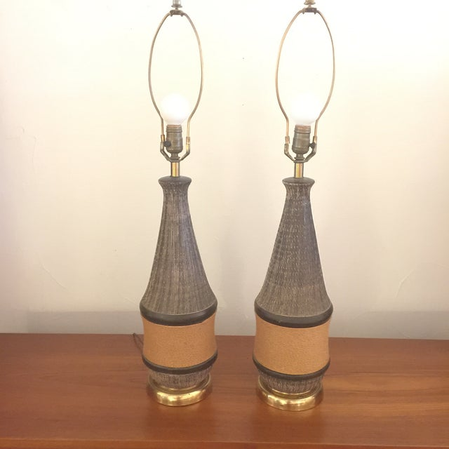 Bitossi Italy Ceramic Rope Lamp, 1960s - A Pair For Sale - Image 4 of 11