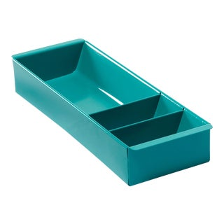 Steel Tanker Drawer Insert Repurposed as Desktop Organizer, Refinished in Turquoise For Sale