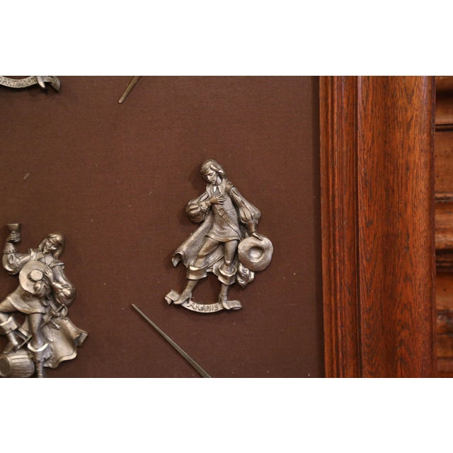 Late 19th Century 19th Century French Framed Four Musketeers and Swords Display Metal Figures For Sale - Image 5 of 9