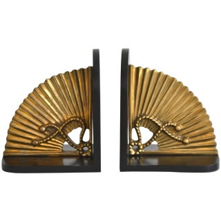 Pair of Hollywood Regency Brass Bookends For Sale