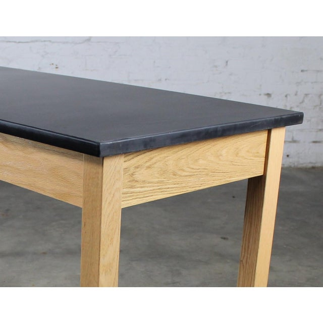 Black Industrial Laboratory Table, Oak With Black Epoxy For Sale - Image 8 of 12