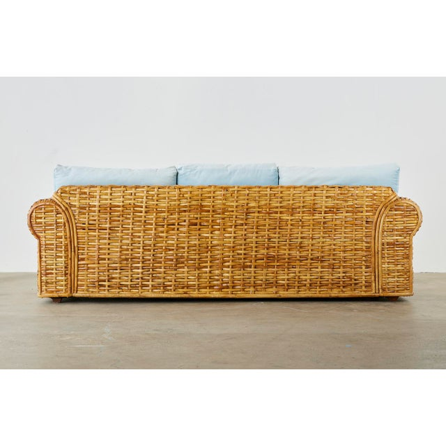 Ralph Lauren Woven Rattan Sofa With Blue Ombre Upholstery For Sale - Image 12 of 13
