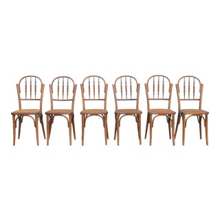 C1940 Vintage French Style Caned Dining Chairs - S/ 6 For Sale