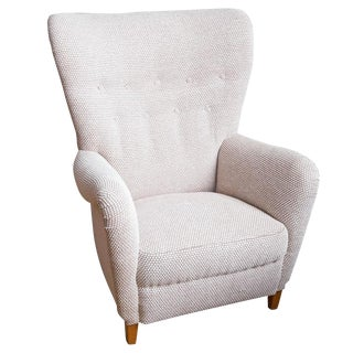 1950s Danish Upholstered Wing-Back Chair For Sale