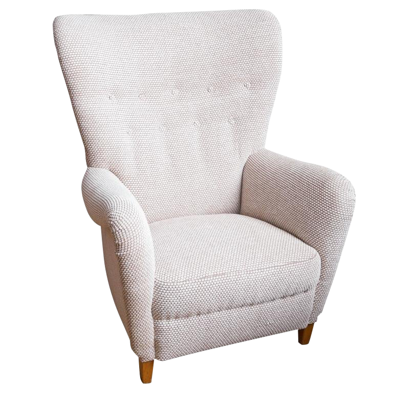 1950s Danish Upholstered Wing Back Chair For Sale