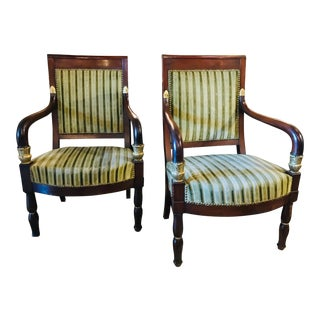 French 19th Century Parcel Gilt Mahogany Arm Chairs - A Pair For Sale