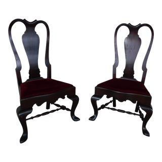 Feldenkreis Mahogany Queen Anne Style Oversize Accent Fireside Chairs - a Pair For Sale