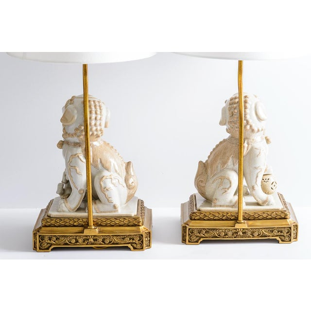 Bronze Asian Foo Dog Porcelain Table Lamps on Bronze Stands, A-Pair For Sale - Image 8 of 13