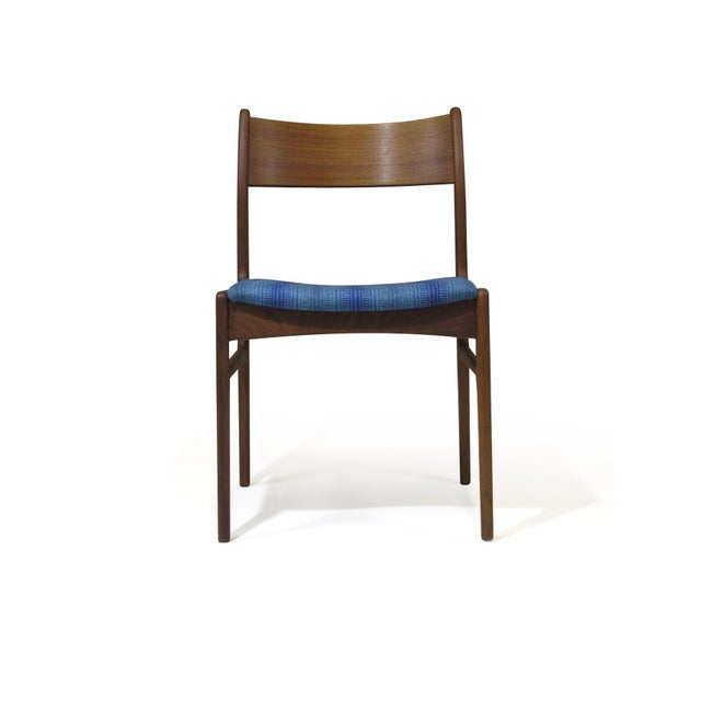 Funder-Schmidt and Madsen Teak Dining Chairs in Blue Wool - Set of 6 For Sale - Image 10 of 11